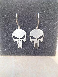The Punisher Skull Sterling Silver Earrings por ROTGERjewelry