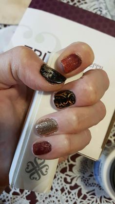 Autumn Romance / Black Matte wraps with Fashionably Late Gel for sparkles