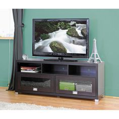 Swindon Modern TV Stand with Glass Doors - Overstock Shopping - Great Deals on Baxton Studio Entertainment Centers
