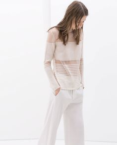 Image 4 of TRANSPARENT STRIPED SWEATER from Zara