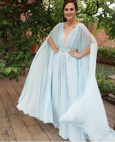 Vic Ceridono vestido longo azul claro