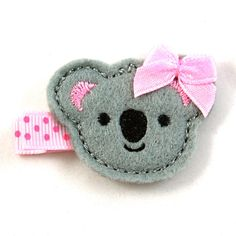 Koala Felt Hair Clip - Grey Light Pink - Alligator Clip - Baby Toddler Little Girl Hair Bow