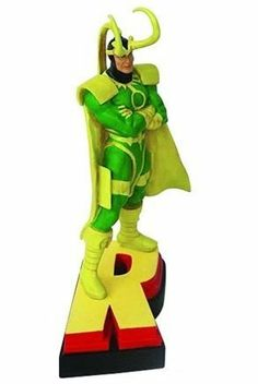 "Avengers Resin Figures - Loki on Letter Base ""R"" by Marvel. $19.99. Colorful costumed characters great gifts for students and professionals alike. One of 8 pieces that can be assembled to spell out Avengers. Loki stands arms crossed plotting to wreak havoc posed atop letter ""R"" base. Use as paperweight or display on shelf. Hand detailed figural and dynamic pose. From the Manufacturer                They are Earth's mightiest heroes, formed to battle foes no single her..."