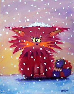 Cranky pink cat in the snow by Cynthia Schmidt