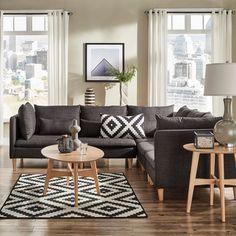 Eloise Mid-Century Modular L - Shaped Sectional Sofa - Dark Gray - Inspire Q, Dark Grey Dark Furniture, Furniture Decor, Living Room Sofa, Living Spaces, Living Rooms, Dark Gray Sofa, Dark Grey, Grey Sofa Decor, Mid Century Modern Sofa