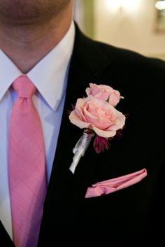 pink rose grooms boutinerre geoff chesman visuals Romantic Garden Wedding Ideas