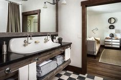 Country Style Bathroom with Reclaimed Wood Sink Vanity with Trough Sink - Country - Bathroom