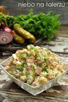 Sałatka zpaluszków surimi Good Food, Yummy Food, Cooking Recipes, Healthy Recipes, Polish Recipes, Appetisers, Party Snacks, Salad Recipes, Potato Salad