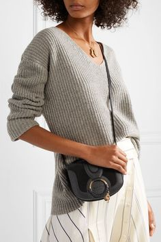 84d5e2f946ee9 See By Chloé - Hana mini suede and textured-leather shoulder bag