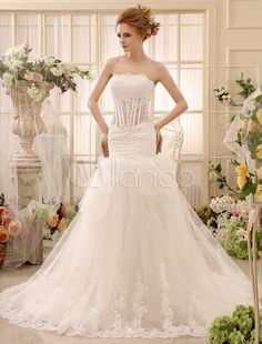 Mermaid Chapel Train Ivory Ruched Wedding Dress For Bride with Strapless Tulle - Milanoo.com