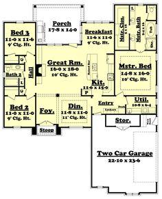 European Style House Plan - 3 Beds 2.00 Baths 1937 Sq/Ft Plan #430-116 Floor Plan - Main Floor Plan - Houseplans.com