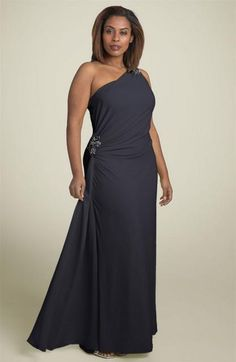 #dresses #gowns #plus #eveninggown #eveningdresses | One Shoulder Plus Size Evening Dress * Black Evening Gown for Plus Size Woman * Our design firm is located here in American and can produce this look or any other style for you in any size, color, fabric or with any changes.  We specialize affordable in custom evening gowns.  We can sketch a design for you.  We can also work from any photo you have. www.dariuscordell.com/featured/plus-size-evening-dresses-plus-size-ball-gowns/