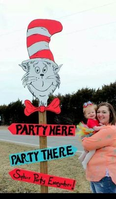 Kids dr suess party sign idea