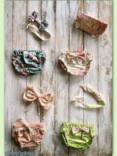 Four floral Baby girl diaper cover headband set by Beauty4ForAshes
