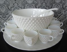 Perfection ..Fenton Hobnail Milk Glass Punch Bowl Set, Vintage 15 piece set.