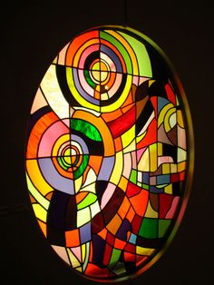 DeLauney-Inspired Stained Glass Window discovered by chance in Rome, Private Residence