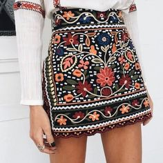 You guess it babes! Our ★ MEXICAN DOLL EMBROIDERED SKIRT ★ Is back!! Online now - www.vergegirl.com