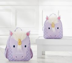 Okay seriously....how cute is this backpack?!?!?!?! Classic Critter Unicorn Backpacks | Pottery Barn Kids