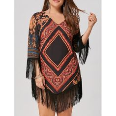 Plus Size Tribal Printed Chiffon Tassel Dress - Floral 5xl Mobile