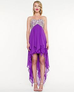 Embellished Chiffon High-Low Gown