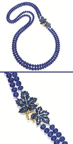 https://www.bkgjewelry.com/sapphire-ring/502-18k-white-gold-diamond-blue-sapphire-ring.html TANZANITE AND SAPPHIRE NECKLACE. The double-stranded necklace composed of two hundred and ten tanzanite beads together weighing approximately 907.00 carats, completed by a clasp decorated by two leaves set with circular-cut sapphires together weighing approximately 3.15 carats, mounted in 18 karat yellow and blackened gold, length approximately 820mm