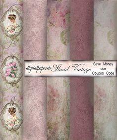 Floral Vintage Digital:  Pink Ivory Soft Color by digitalpaperetc