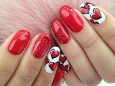 Here is Valentine Nail Designs Gallery for you. Valentine Nail Designs top 5 valentine nail art designs to make you swoon Fancy Nails, Trendy Nails, Diy Nails, Love Nails, Diy Manicure, Heart Nail Art, Heart Nails, Valentine's Day Nail Designs, Acrylic Nail Designs
