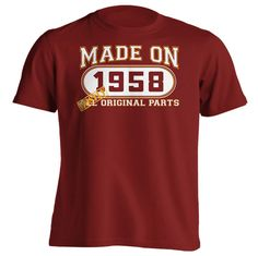 58th Birthday Gift T-Shirt - Made In 1958 Mostly Original Parts - Short Sleeve Mens T-Shirt