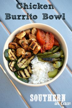 Healthy Chicken Burrito Bowls - a delicious recipe that can be adapted to use up whatever is left in your refridgerator. Gluten free, healthy, clean eating friendly, low fat and so delicious!