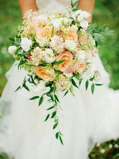 Rustic Bouquet Of Peach Roses, White Lisianthus, White Spray Rose, White Chamomile Daisies, Peach Stock, Additional Florals + Greenery/Foliage