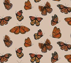 Hibiscus pattern by smileysunday - Hand illustrated floral pattern in orange and mauve on a teal background on fabric, wallpaper, and gift wrap. Bold floral pattern by indie pattern designer smileysunday. Macbook Wallpaper, Iphone Background Wallpaper, Butterfly Wallpaper, Computer Wallpaper, Cute Laptop Wallpaper, Butterfly Background, Teal Background, Fabric Wallpaper, Aesthetic Desktop Wallpaper