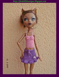 Ropa para Monster High: conjunto top + falda de Fordollsboutique en Etsy