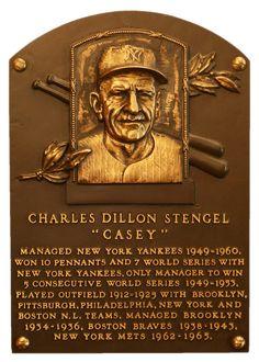 Casey Stengel's Hall of Fame plaque Baseball Star, Nationals Baseball, New York Yankees Baseball, Baseball Cards, Ny Yankees, Baseball Photos, Mlb Players, Baseball Players, Casey Stengel