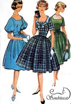 1950s McCalls 5107 ROCKABILLY Four Gore Skirt Dress by sandritocat, $12.00
