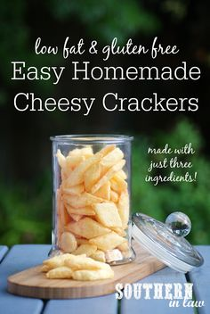 Homemade crackers do not get easier than this! This Homemade Gluten Free Cheese Crackers Recipe uses just three ingredients and takes just a few minutes to make. They are also gluten free, egg free, low fat, sugar free, clean eating friendly and high in protein!