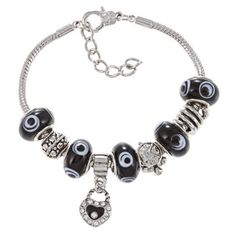 This pretty bracelet from La Preciosa features black Murano-inspired glass beads in various designs that alternate with silverplated beads. The snake bracelet is crafted of silverplated base metal and