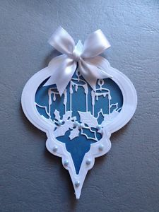 View item: HANDMADE SPELLBINDERS HEIRLOOM BAUBLE CHRISTMAS CARD TOPPER....WHITE AND BLUE