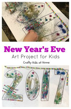 Making decorations is a great way to get your kids involved in your New Year Party celebrations. Start with this fun New Year's Eve art project. Christmas Arts And Crafts, Christmas Games, Christmas Activities, Christmas Ornaments, New Year Art, Crafty Kids, New Years Eve Party, Homemade Christmas, Kids House