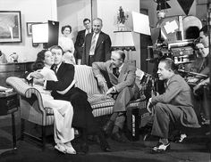 """Jimmy Stewart and Rosalind Russell on the set of """"No Time for Comedy"""" (1940)"""