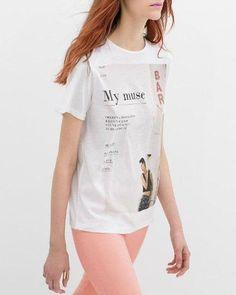 Fashionable Women's Letter Print Short Sleeve Jewel Neck T-Shirt