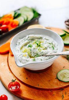 AMAZING Vegan Tzatziki! 5 ingredients, THICK, flavorful! The perfect sauce for Greek night. #yogurt #tzatziki #recipe #vegan #glutenfree #minimalistbaker