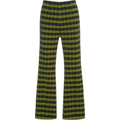 Marni Flared Checkered Trousers ($860) ❤ liked on Polyvore featuring pants, marni, trousers, green, flare trousers, high rise pants, checkered pants, flared leg pants and high-waisted trousers