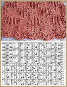 Tricot - Tricot * Crochet * Couture *¨* Broderie *¨* Lace Knitting Stitches, Lace Knitting Patterns, Knitting Charts, Easy Knitting, Stitch Patterns, Knitting Machine, Knitting Needles, Diy Crafts Crochet, Knit Crochet