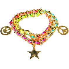 Ettika Neon Smiley Face Charm Bracelet ($64) ❤ liked on Polyvore featuring jewelry, bracelets, cord bracelet, charm bracelet bangle, chain bracelet, peace charm and charm bracelet