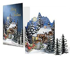 """Santa's Sleigh & Reindeer Christmas Card Measures: 8-1/4"""" x 5-7/8"""" Inside is blank for your personal message.  Saying on Front of Card: Merry Christmas"""