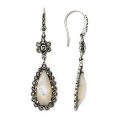 Marcasite and Mother-of-Pearl Drop Earrings  found at @JCPenney