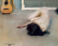 Ramon Casas i Carbó - Nude with a guitar // a Catalan Spanish painter who was interested in the possibilities of the nude and was a skilled guitar player himself [DailyArt] Spanish Painters, Spanish Artists, Ramones, Morgana Le Fay, Modernisme, Ferrat, Figure Drawing, Figurative Art, Art Google