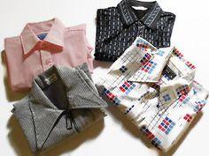 Lot-of-4-VTG-Mens-Short-Sleeve-Shirts-Womens-Boyfriend-Shirts-Mad-Men-Era