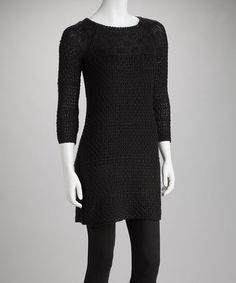 Take a look at this Black Open-Knit Sweater Dress by Dex on #zulily today!