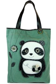 Dada Panda Everyday Tote. The Dada Panda Everyday Tote by CHALA is chic, fun, and practical! Features a friendly panda on the front that is also a convenient pocket, fabricated flower & etched wood buttons, magnetic snap closure, rear zippered pocket, and patterned fabric lining with slide pockets & zippered pocket. $28. 35% off until March 31st.